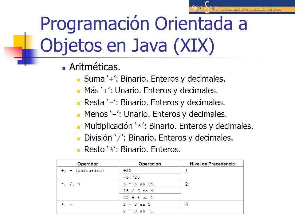 Programación Orientada a Objetos en Java (XIX)