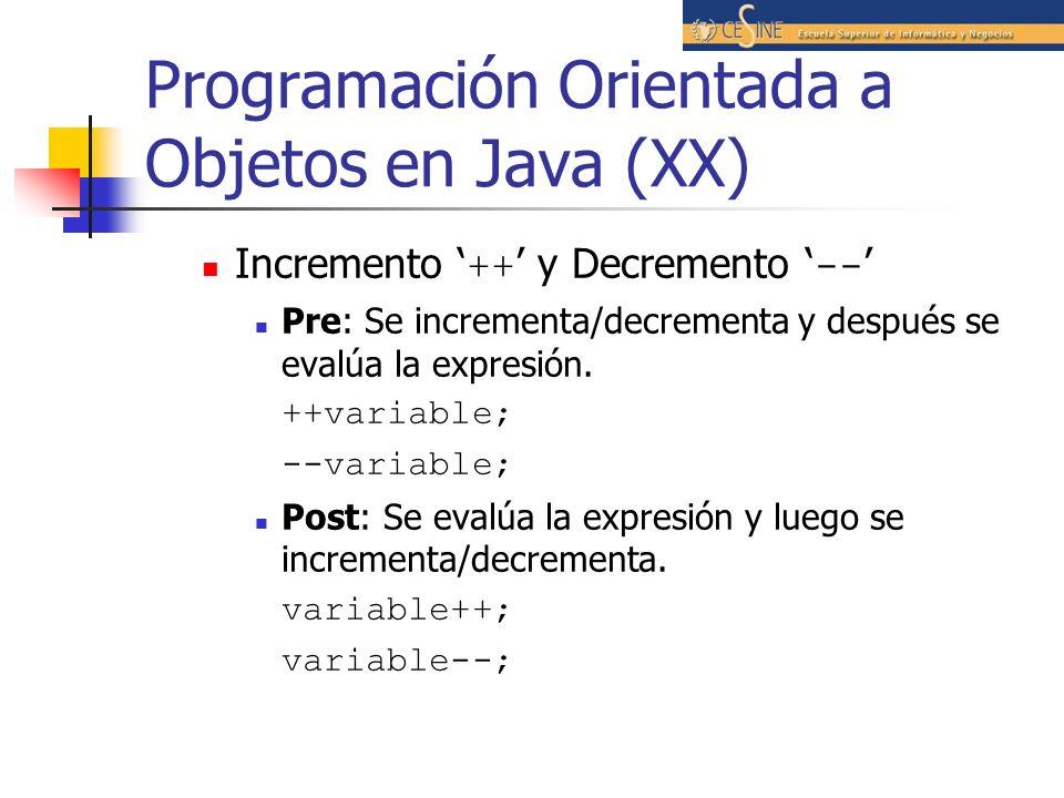 Programación Orientada a Objetos en Java (XX)