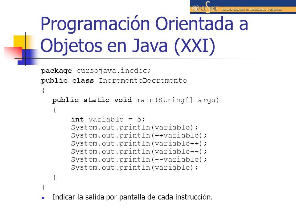 Programación Orientada a Objetos en Java (XXI)