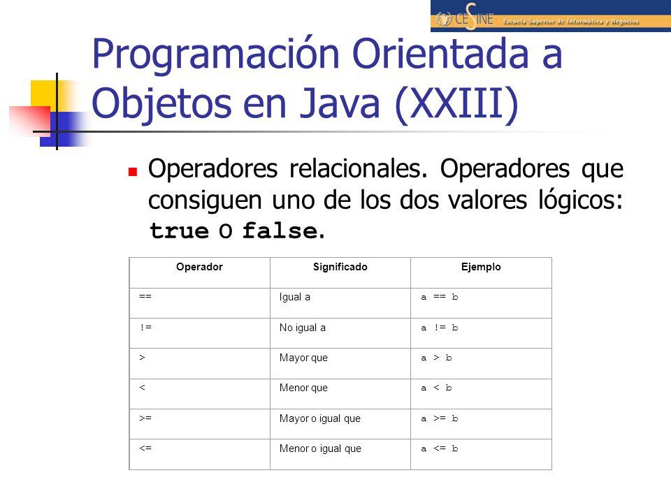 Programación Orientada a Objetos en Java (XXIII)