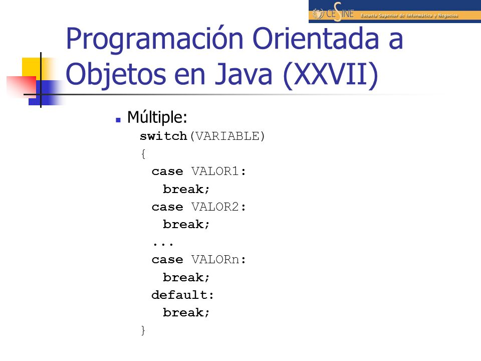 Programación Orientada a Objetos en Java (XXVII)