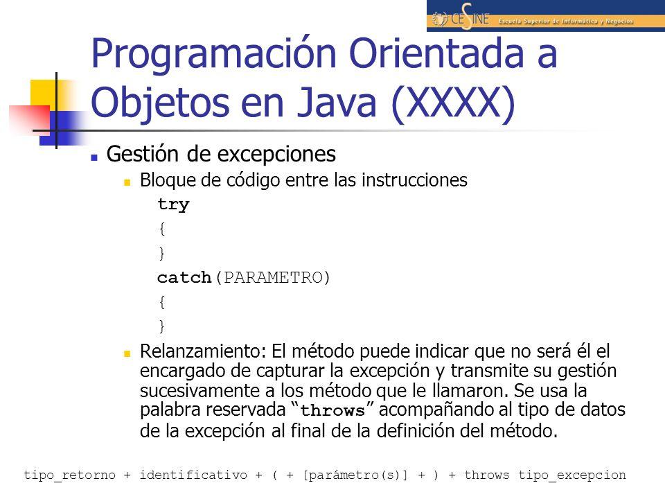 Programación Orientada a Objetos en Java (XXXX)