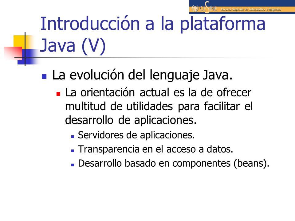 Introducción a la plataforma Java (V)