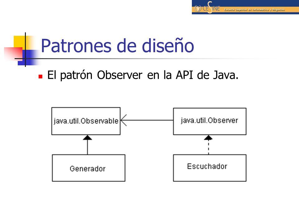 Patrones de diseño El patrón Observer en la API de Java.