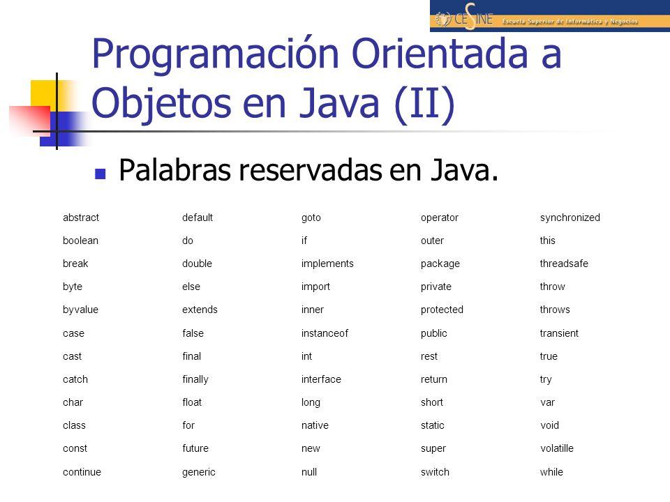 Programación Orientada a Objetos en Java (II)