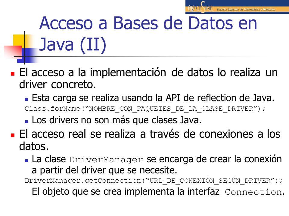 Acceso a Bases de Datos en Java (II)