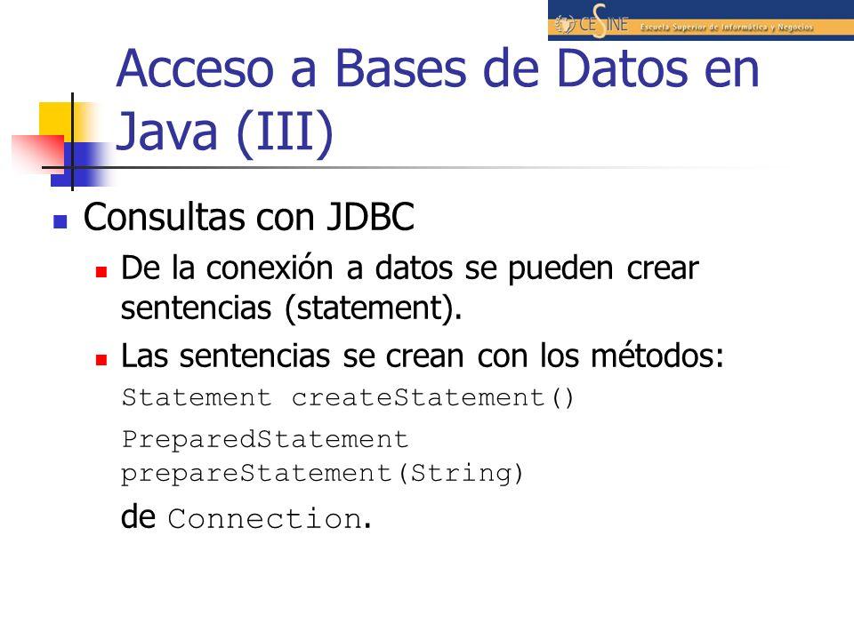 Acceso a Bases de Datos en Java (III)