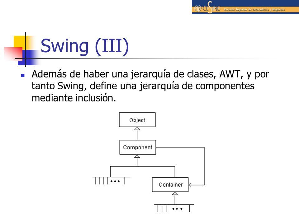 Swing (III)Además de haber una jerarquía de clases, AWT, y por tanto Swing, define una jerarquía de componentes mediante inclusión.