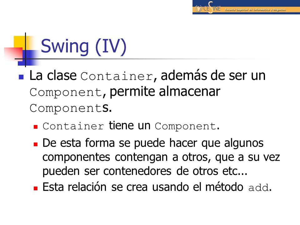 Swing (IV) La clase Container, además de ser un Component, permite almacenar Components. Container tiene un Component.