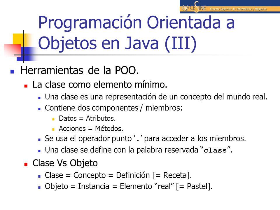 Programación Orientada a Objetos en Java (III)