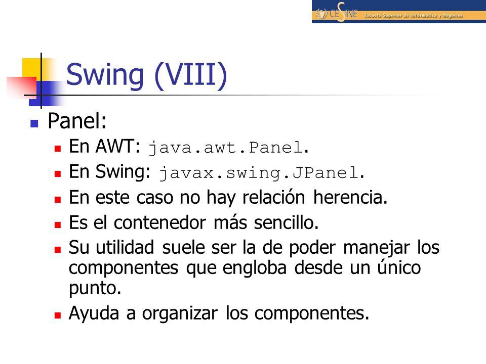 Swing (VIII) Panel: En AWT: java.awt.Panel.