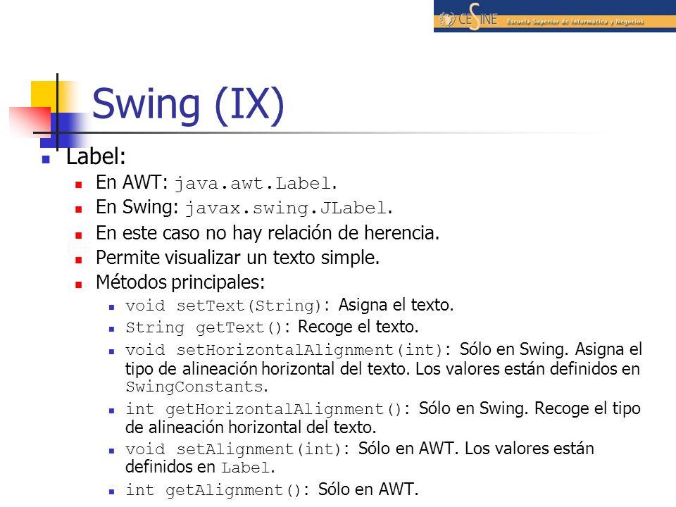Swing (IX) Label: En AWT: java.awt.Label.