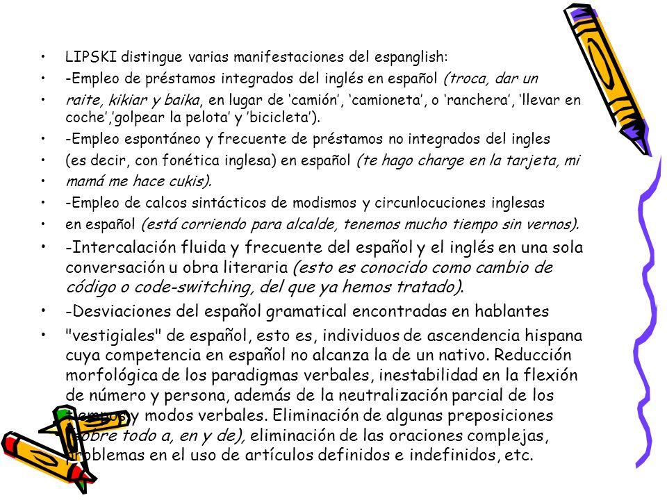 -Desviaciones del español gramatical encontradas en hablantes