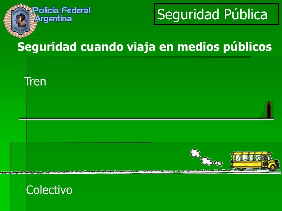 Seguridad Pública Seguridad cuando viaja en medios públicos Tren