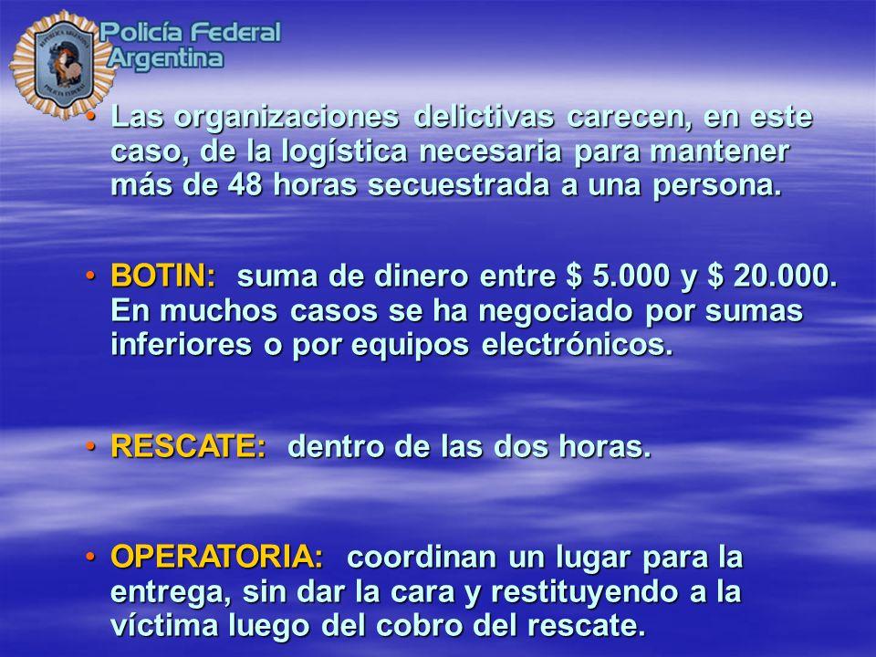 Las organizaciones delictivas carecen, en este caso, de la logística necesaria para mantener más de 48 horas secuestrada a una persona.