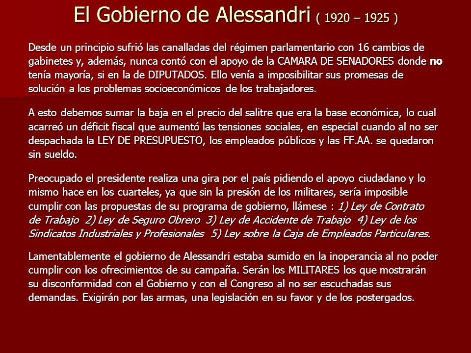 El Gobierno de Alessandri ( 1920 – 1925 )
