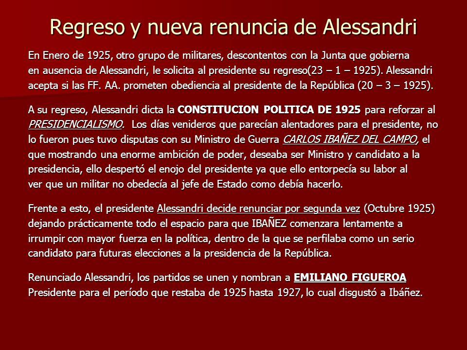 Regreso y nueva renuncia de Alessandri