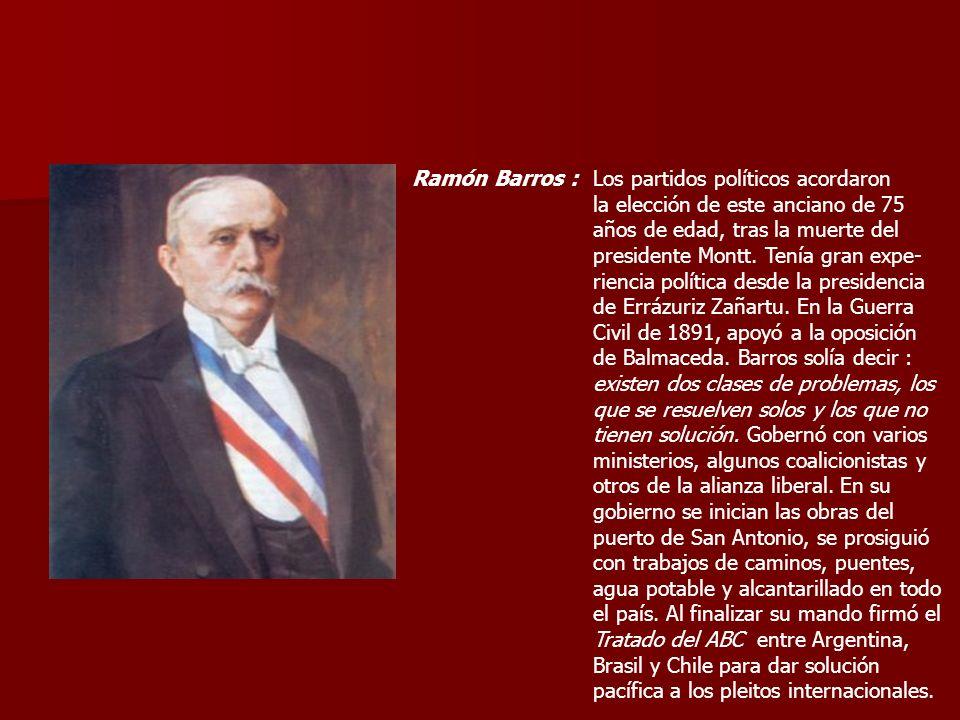 Ramón Barros :Los partidos políticos acordaron. la elección de este anciano de 75. años de edad, tras la muerte del.