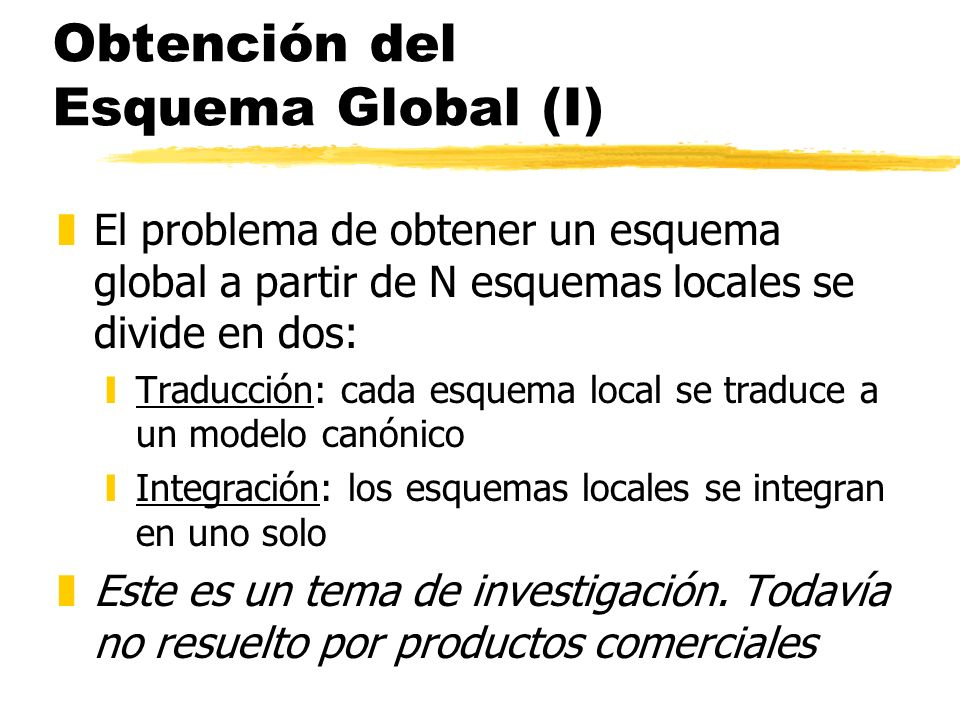Obtención del Esquema Global (I)