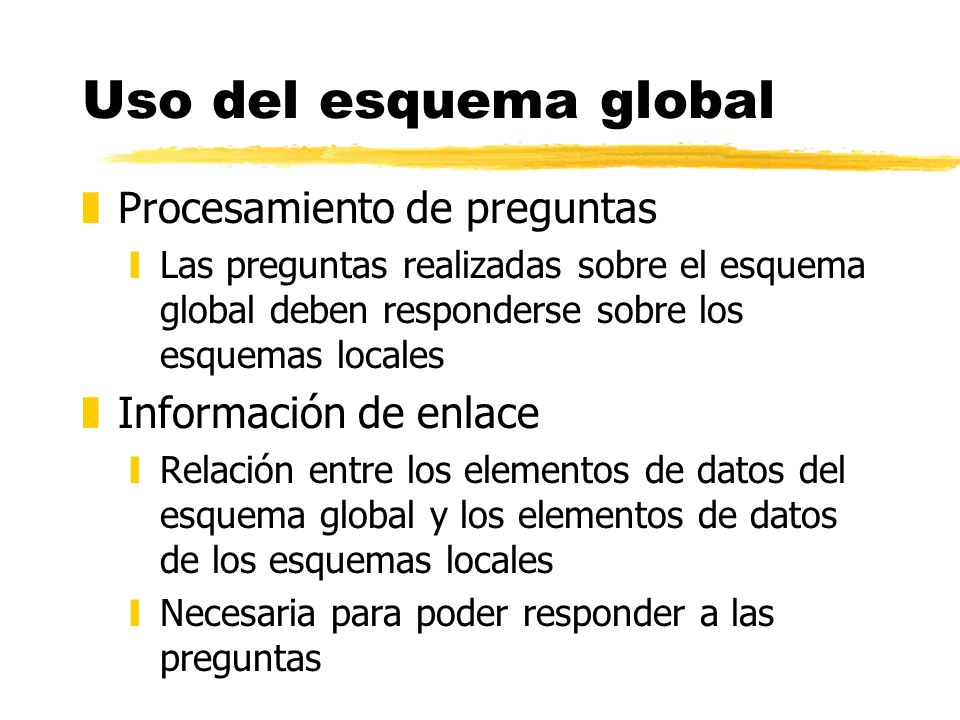Uso del esquema global Procesamiento de preguntas