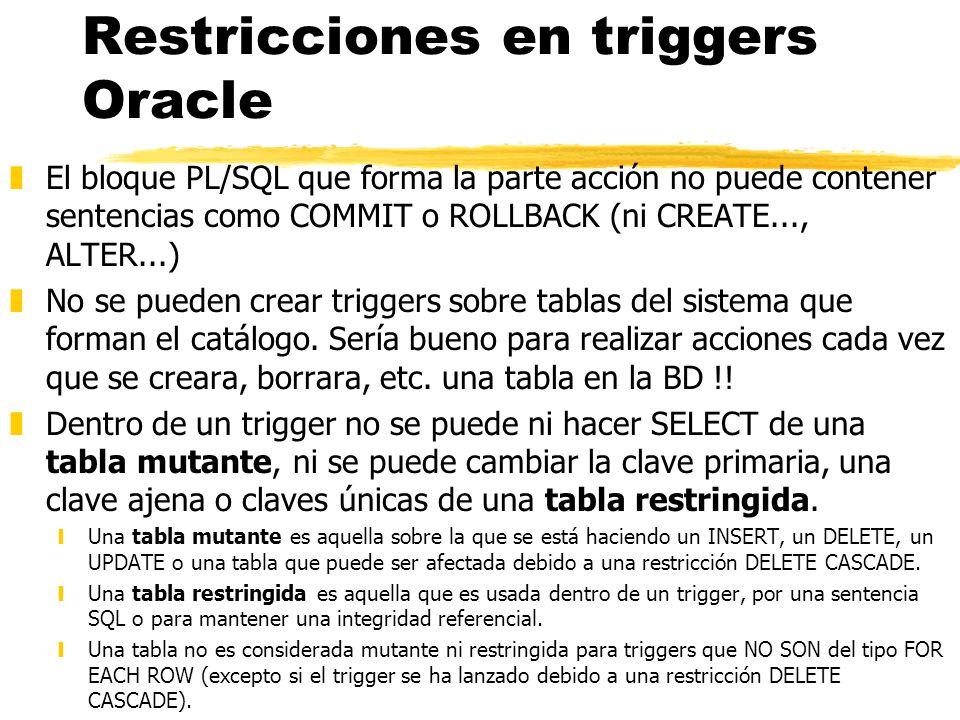 Restricciones en triggers Oracle