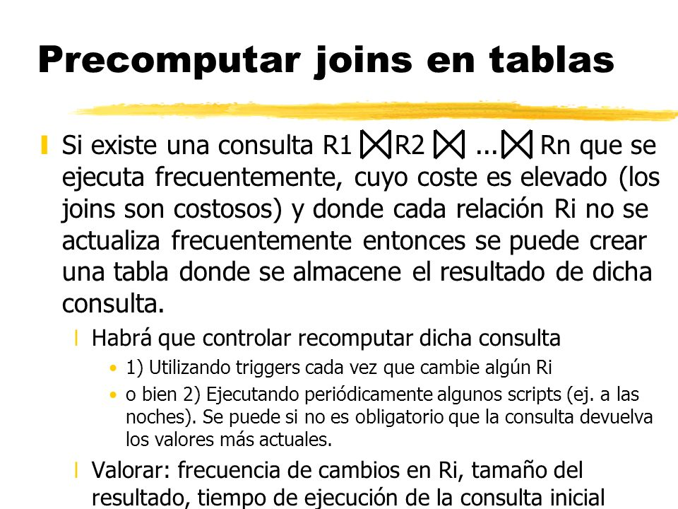 Precomputar joins en tablas