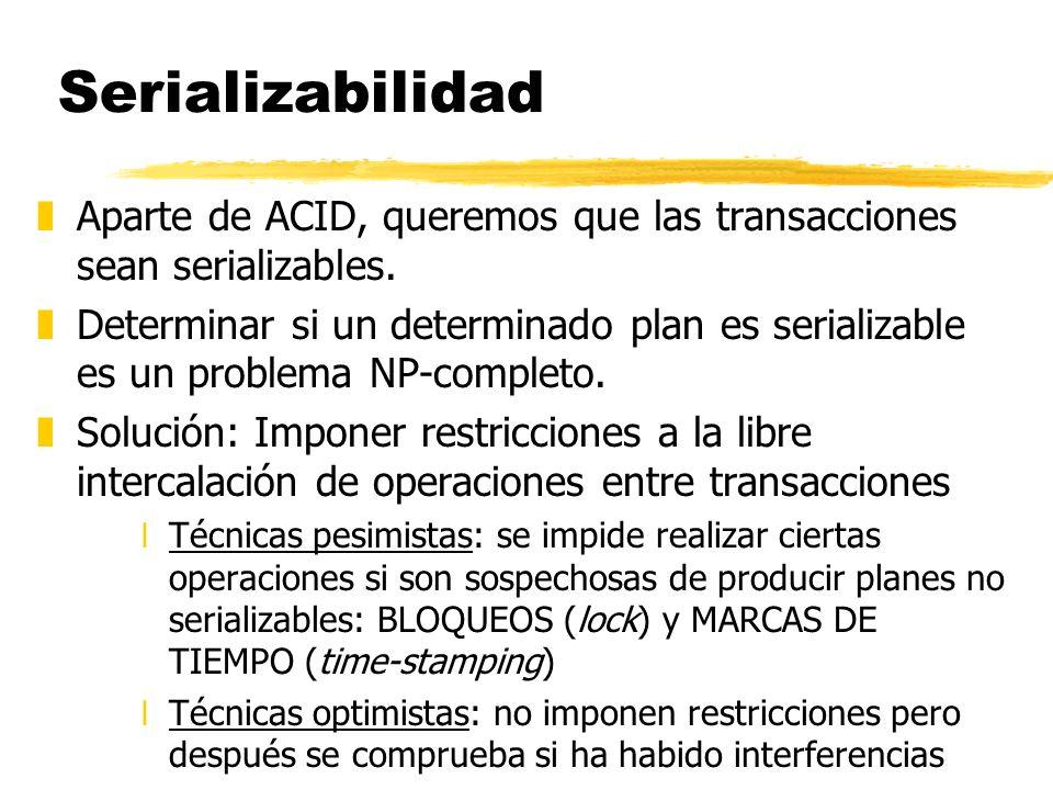 Serializabilidad Aparte de ACID, queremos que las transacciones sean serializables.