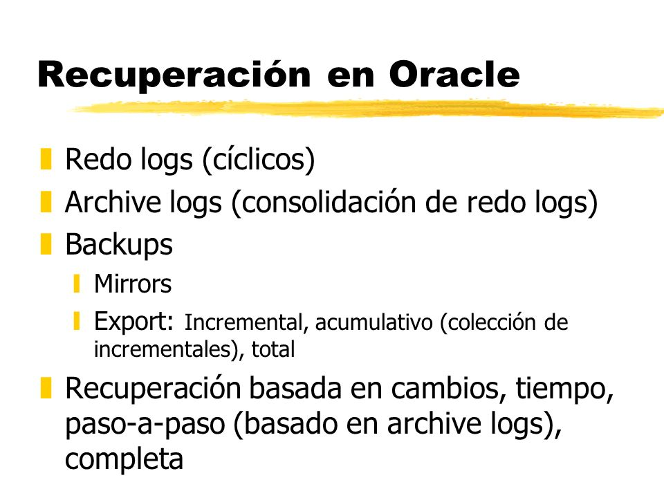 Recuperación en Oracle