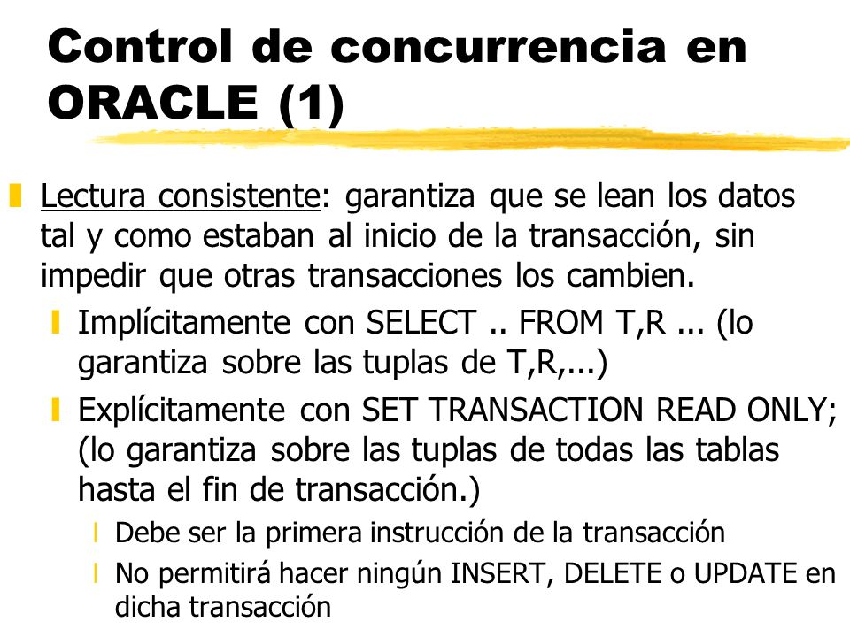 Control de concurrencia en ORACLE (1)