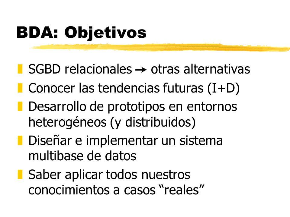 BDA: Objetivos SGBD relacionales  otras alternativas