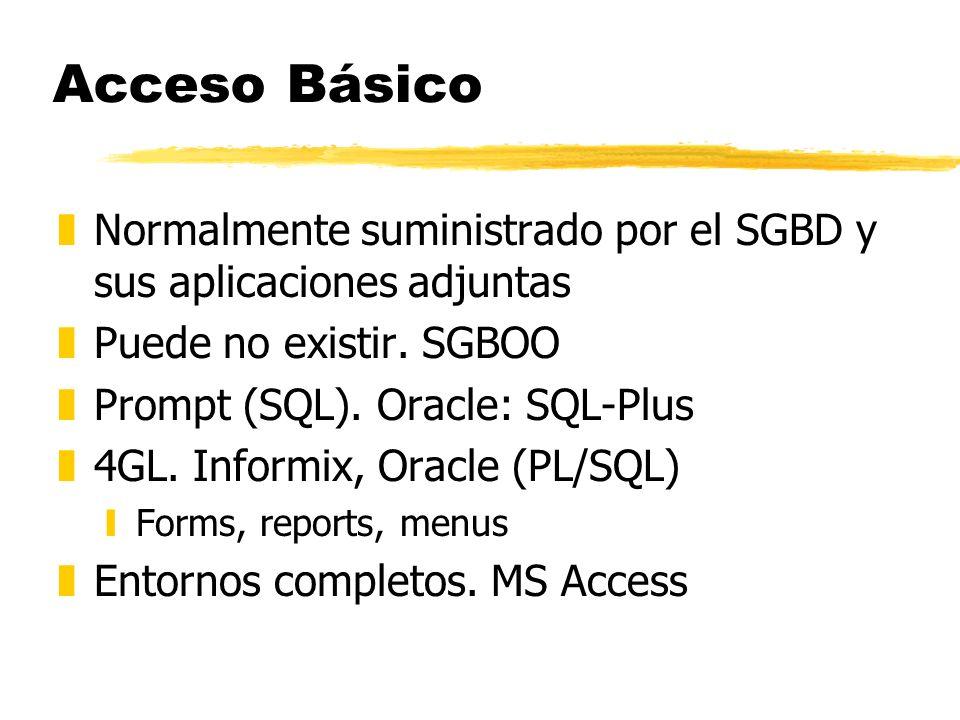 Acceso Básico Normalmente suministrado por el SGBD y sus aplicaciones adjuntas. Puede no existir. SGBOO.