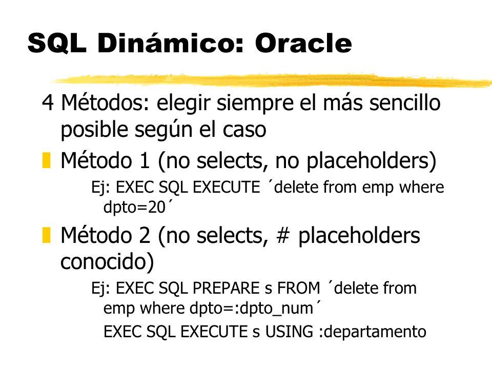 SQL Dinámico: Oracle 4 Métodos: elegir siempre el más sencillo posible según el caso. Método 1 (no selects, no placeholders)