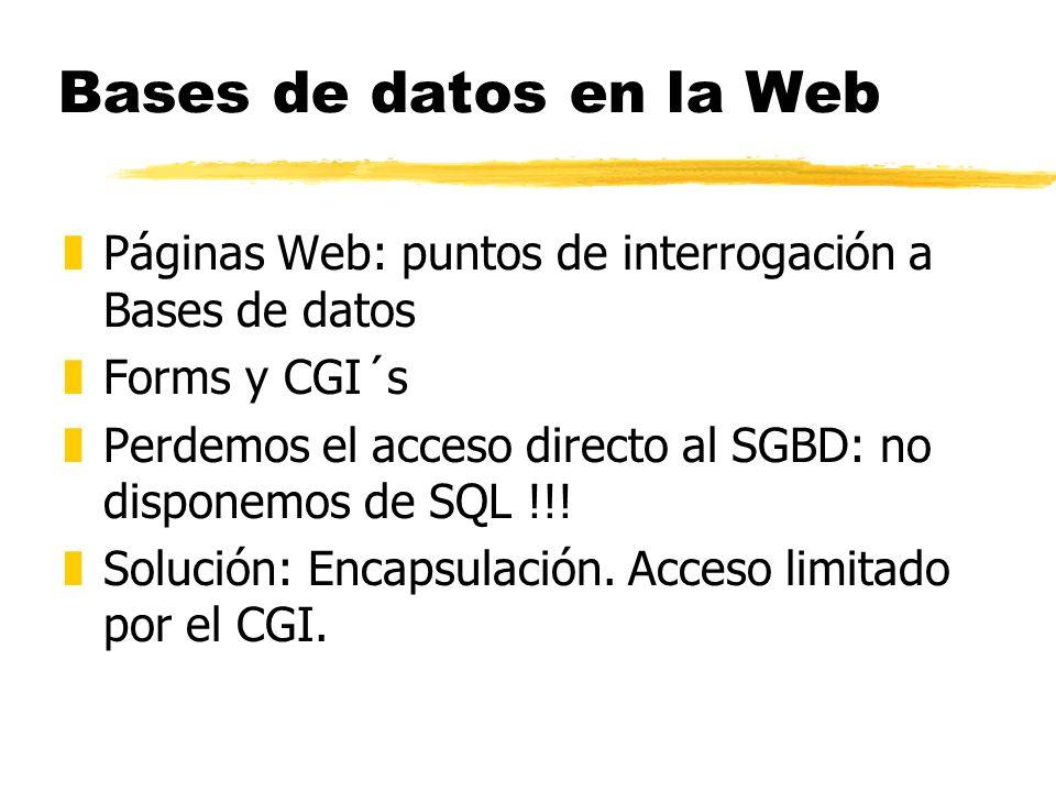 Bases de datos en la Web Páginas Web: puntos de interrogación a Bases de datos. Forms y CGI´s.