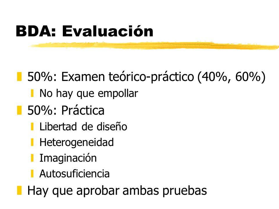 BDA: Evaluación 50%: Examen teórico-práctico (40%, 60%) 50%: Práctica