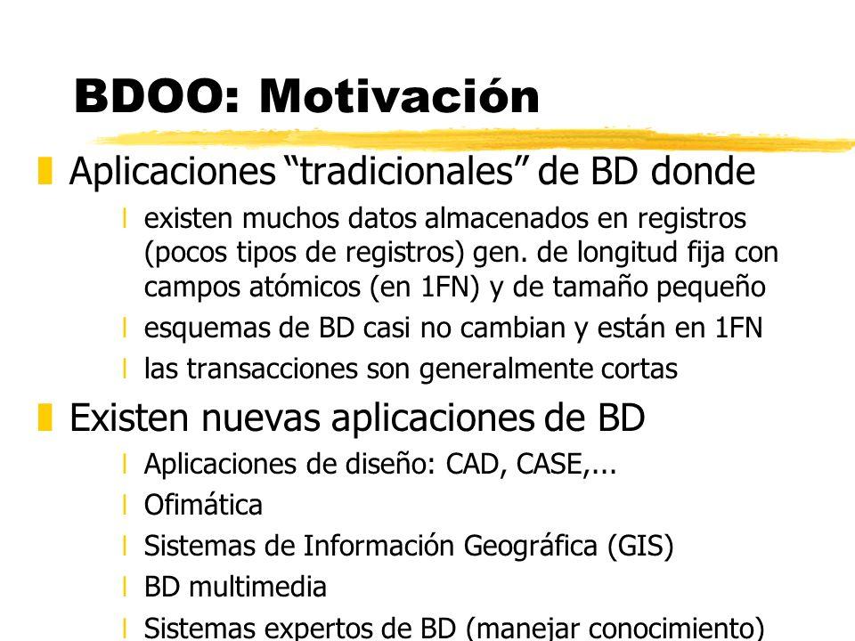 BDOO: Motivación Aplicaciones tradicionales de BD donde