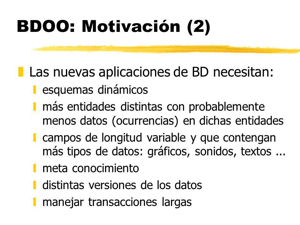 BDOO: Motivación (2) Las nuevas aplicaciones de BD necesitan: