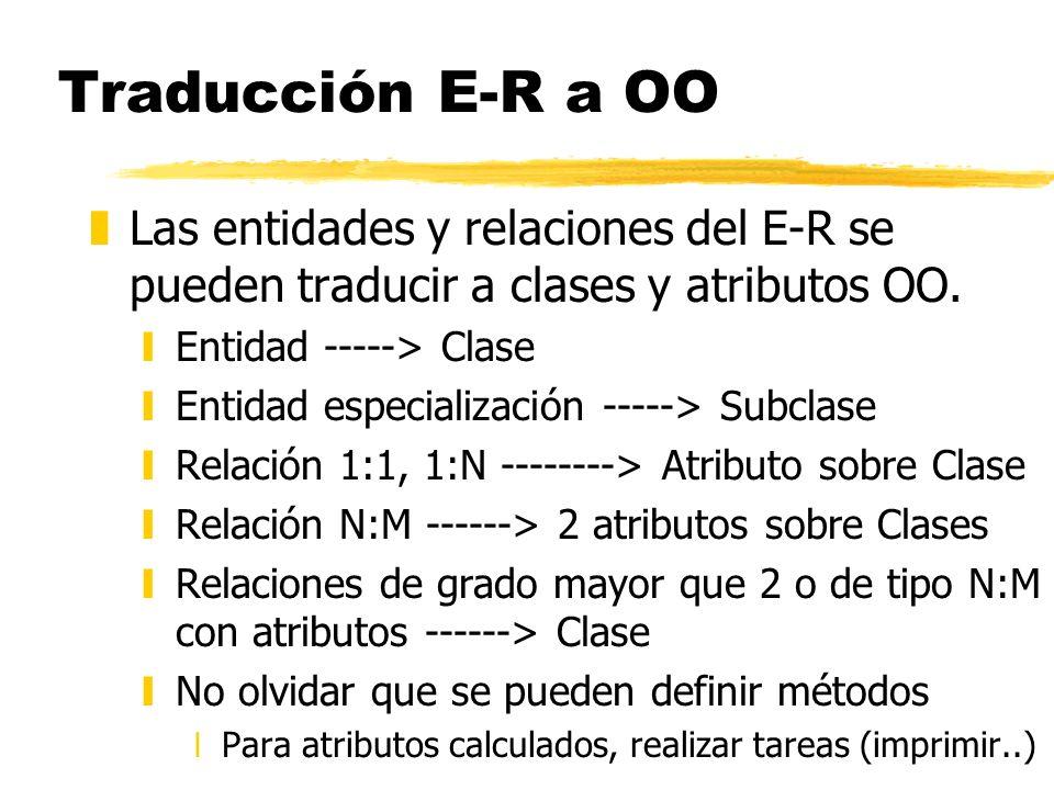 Traducción E-R a OO Las entidades y relaciones del E-R se pueden traducir a clases y atributos OO. Entidad -----> Clase.