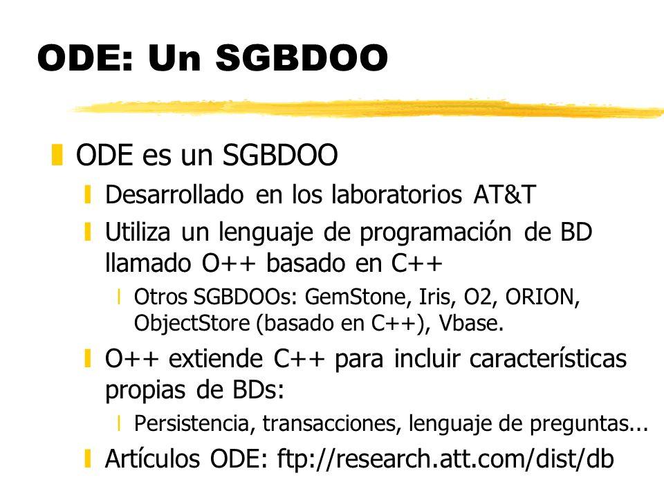 ODE: Un SGBDOO ODE es un SGBDOO Desarrollado en los laboratorios AT&T