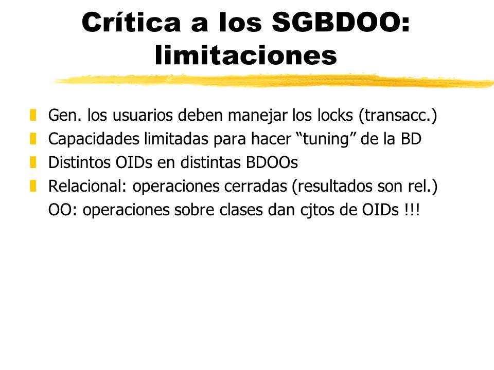 Crítica a los SGBDOO: limitaciones