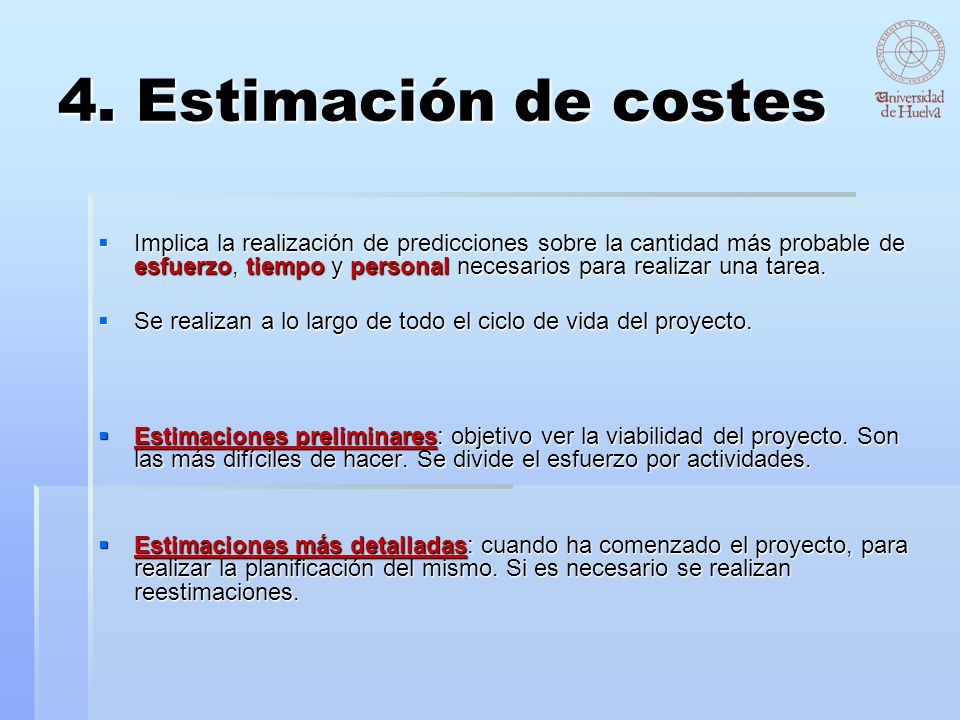 4. Estimación de costes