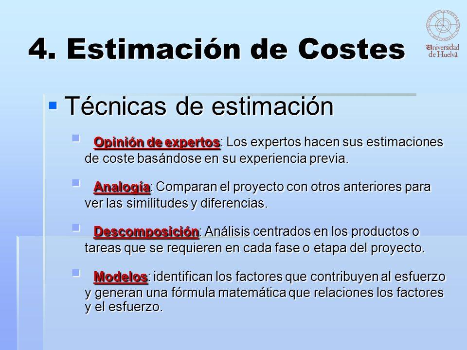 4. Estimación de Costes Técnicas de estimación