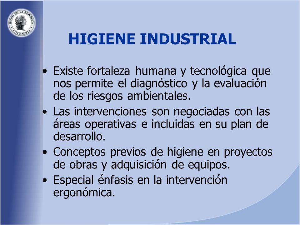 HIGIENE INDUSTRIAL Existe fortaleza humana y tecnológica que nos permite el diagnóstico y la evaluación de los riesgos ambientales.