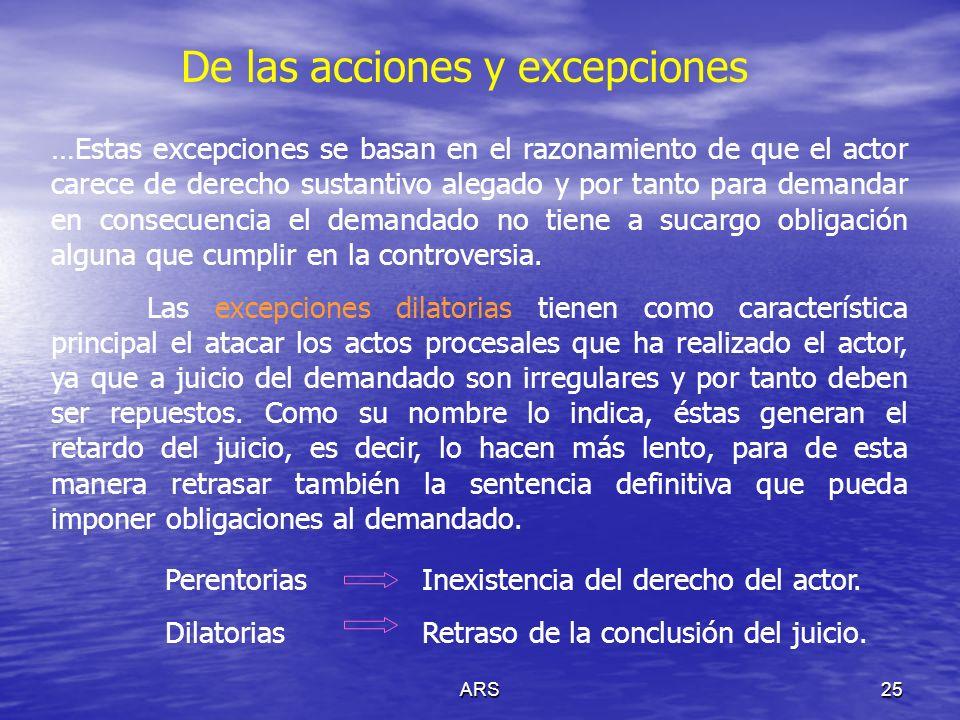De las acciones y excepciones