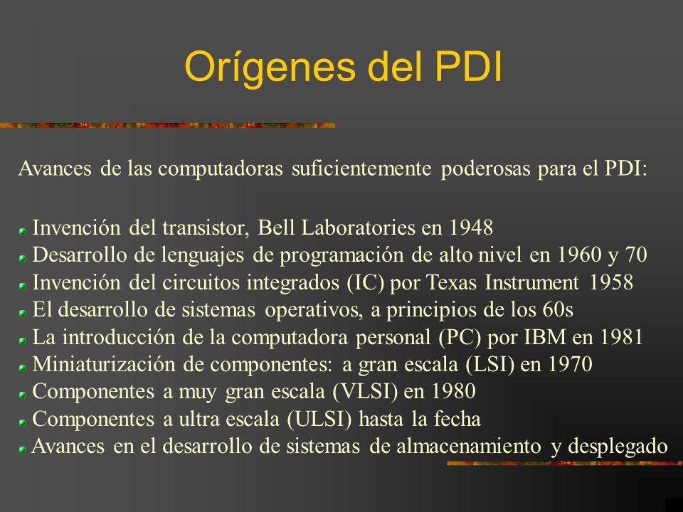 Orígenes del PDI Avances de las computadoras suficientemente poderosas para el PDI: Invención del transistor, Bell Laboratories en 1948.