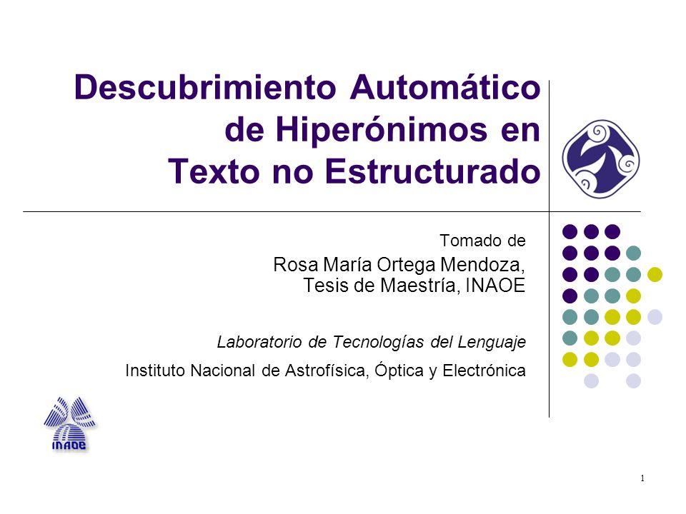 Descubrimiento Automático de Hiperónimos en Texto no Estructurado