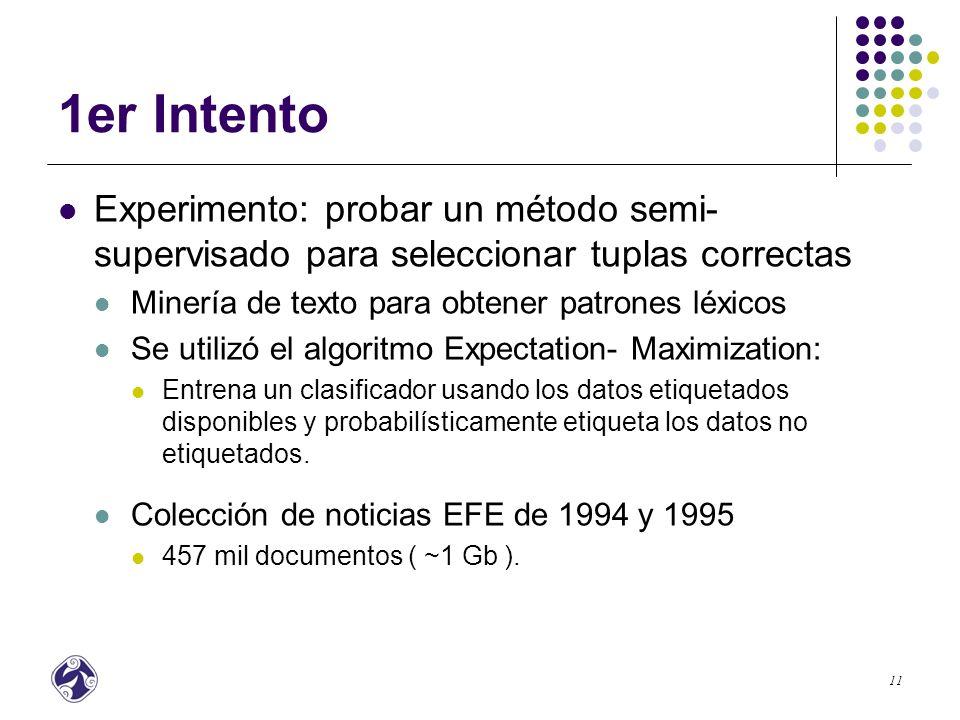 1er Intento Experimento: probar un método semi-supervisado para seleccionar tuplas correctas. Minería de texto para obtener patrones léxicos.