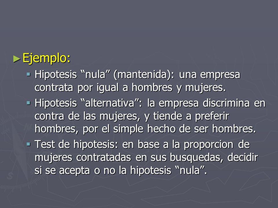 Ejemplo: Hipotesis nula (mantenida): una empresa contrata por igual a hombres y mujeres.
