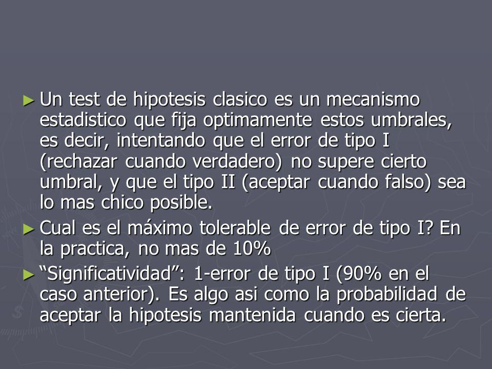 Un test de hipotesis clasico es un mecanismo estadistico que fija optimamente estos umbrales, es decir, intentando que el error de tipo I (rechazar cuando verdadero) no supere cierto umbral, y que el tipo II (aceptar cuando falso) sea lo mas chico posible.