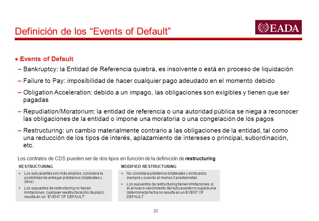 Definición de los Events of Default