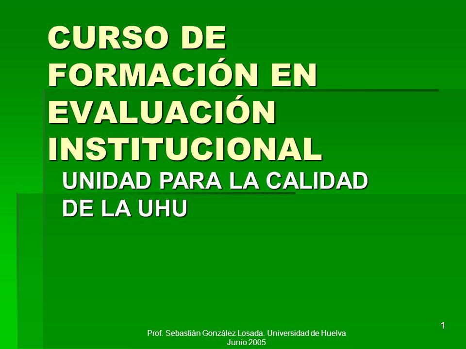 CURSO DE FORMACIÓN EN EVALUACIÓN INSTITUCIONAL